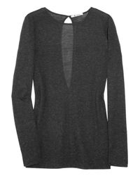 T By Alexander Wang - Gray Keyhole-back Jersey Top - Lyst