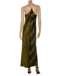 T By Alexander Wang - Green Striped Silk Charmeuse Racerback Slip Dress - Lyst
