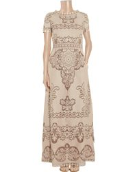 Valentino - Natural Cotton-blend Lace Gown - Lyst