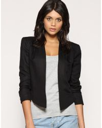 ASOS Collection | Black Asos Tailored Cropped Pleat Shoulder Blazer | Lyst