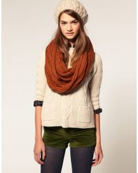 ASOS Collection - Brown Asos Loose Rib Knitted Snood - Lyst