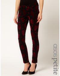 ASOS Red Skinny Jeans in Baroque Print