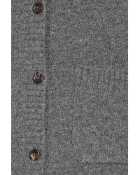 CLU - Gray Satin-paneled Wool-blend Cardigan - Lyst