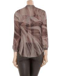Raquel Allegra | Multicolor Hair-print Silk-georgette Blouse | Lyst