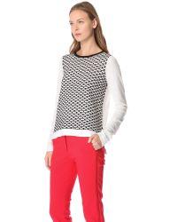 Tibi | White Sporty Mesh Intarsia Knit Sweater | Lyst