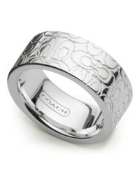 COACH - Metallic Sterling Signature Band Ring - Lyst