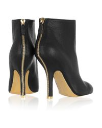 Stella McCartney | Black Zip-trimmed Faux Leather Ankle Boots | Lyst