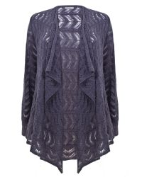 Ann Harvey | Purple Pointelle Cardi | Lyst