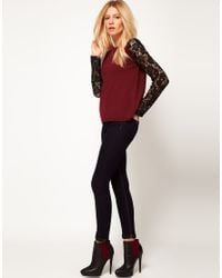 ASOS Collection - Red Asos Lace Sleeve Jumper - Lyst