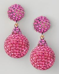Jose & Maria Barrera | Pink Pave Crystal Double-drop Earrings Fuchsia | Lyst