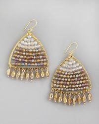 Nakamol   Metallic Iridescent Beaded Triangle Drop Earrings   Lyst
