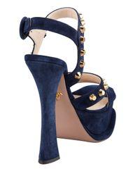 Prada - Blue Studded Suede Anklewrap Sandal Navy - Lyst