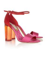 Stella McCartney - Pink Perspex-heeled Two-tone Satin Sandals - Lyst