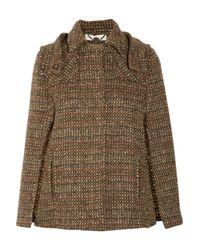 Stella McCartney | Brown Tweed Wool Double-breasted Coat | Lyst