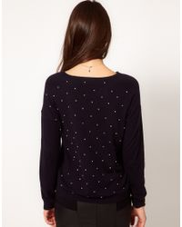 Whistles - Blue Gracie Stone Embellished Sweater - Lyst