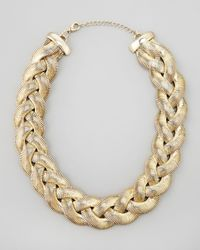 Cara | Metallic Braided Chain Necklace | Lyst