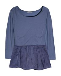 Carven | Blue Cotton-jersey and Organza Peplum Top | Lyst