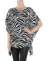 MICHAEL Michael Kors | Multicolor Zebra-print Silk-georgette Top | Lyst
