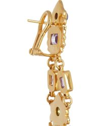 Percossi Papi - Metallic Goldplated Amethyst Peridot and Sapphire Earrings - Lyst