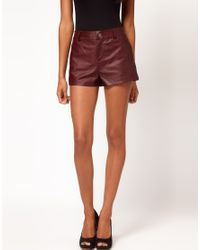 ASOS Collection   Purple Asos Leather Shorts   Lyst