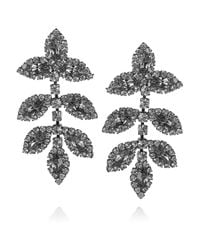 Elizabeth Cole | Gray Hematite Plated Swarovski Crystal Earrings | Lyst