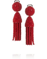 Oscar de la Renta | Purple Short Beaded Tassel Clip-on Earring | Lyst