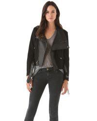 Donna Karan | Black Felt Leather Jacket | Lyst