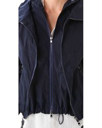 Donna Karan | Blue Double Zip Hooded Jacket | Lyst