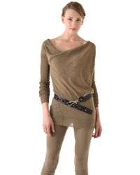 Donna Karan | Natural Long Sleeve Sweater | Lyst