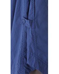 Donna Karan | Blue Roll Sleeve Oversized Tunic | Lyst