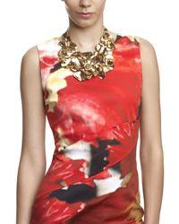 Oscar de la Renta - Metallic Rose Petal Collar Necklace - Lyst
