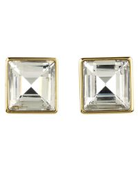 Michael Kors - Metallic Cocktail Party Crystal Square Stud Earrings - Lyst
