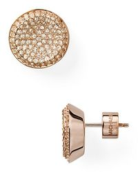 michael kors concave pave stud earrings in gold rose gold lyst. Black Bedroom Furniture Sets. Home Design Ideas