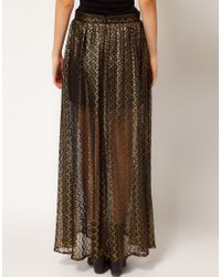 River Island | Gold Chelsea Girl Metallic Lace Maxi Skirt | Lyst