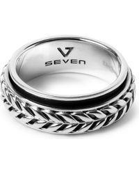 Seven London - Metallic Flowing Weave Rotating Ring - Lyst