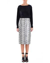 Tibi | Gray Python Printed Leather Skirt | Lyst