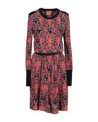 Tory Burch | Brown Ria Floral-Print Boat-Neck Sheath Dress | Lyst