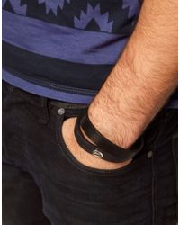 DIESEL - Black Leather Bracelet for Men - Lyst