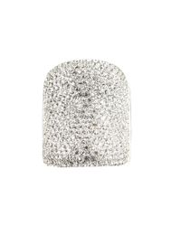 Michael Kors - Metallic Silver Tone Pave Concave Ring - Lyst