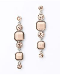 Ann Taylor - Pink Resin and Crystal Linear Earrings - Lyst