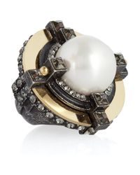 Lanvin | White Crystalembellished Glass Pearl Ring | Lyst