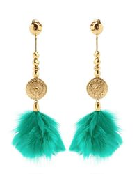 Aurelie Bidermann | Green Cite Dor Feather Earring | Lyst