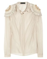 Burberry Prorsum | Natural Silk And Cotton-Organza Blouse | Lyst
