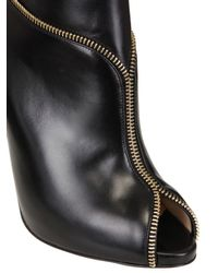 Christian Louboutin | Black 120mm Col Zipped Calf Open Toe Low Boots | Lyst