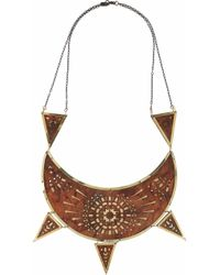 Pamela Love | Metallic Zellij Brass and Lasercut Wood Necklace | Lyst