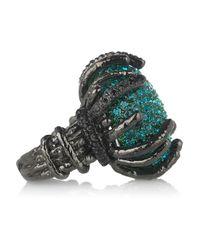 Roberto Cavalli - Blue Rhodium-Plated Swarovski Crystal Ring - Lyst