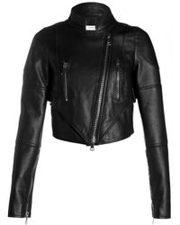 Givenchy | Black Givenchy Womens Cropped Leather Jacket | Lyst