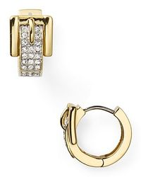 Michael Kors | Metallic Pave Buckle Huggie Earrings | Lyst