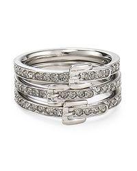 Michael Kors - Metallic Pave Buckle Ring Set - Lyst