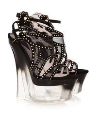 Versace   Black Wedge Sandal   Lyst